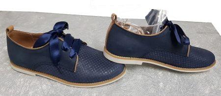 un cuir lisse et quadrillé effet irisé marine pour la derby Tap de Bellamy, chaussure junior à lacets