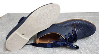 derby cuir marine et camel pour junior, modèle Tap de Bellamy à lacets