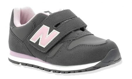 IV373, basket New balance pour fille en cuir et textile gris et rose, modèle pour enfants fermé par 1 velcro