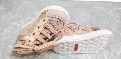 chaussure pour premiers pas Shoo Pom en cuir velours nude imprimé feuillages cuivrés, modèle Bouba Bi Zip fermé par 1 lacet et 2 zips