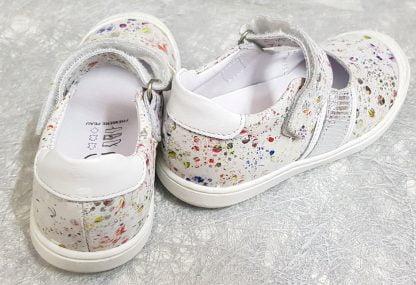 chaussure enfant, babies à velcro muxa blanc imprimé argent et multicolore, Muxa de Bellamy