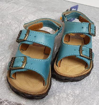 Wham sandale Stones and Bones en cuir bleu avec 2 bri