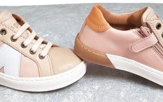 basket pour fille en cuir aux tons pastels rose, taupe et abricot, modèle Sena de Bisgaard fermé par 1 lacet et 1 zip