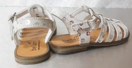 nu-pied enfant Pontivi en cuir argent imprimé métallisé et fermé par 1 bride à boucle, modèle Bellamy