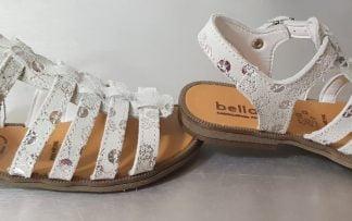 un cuir argent imprimé pour le nu-pied enfant fermé par 1 bride à boucle, modèle Pontivi de Bellamy
