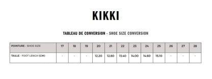 guide pour pointure modèle Kiki de Shoo Pom