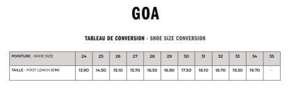 Tableau pour pointure Goa