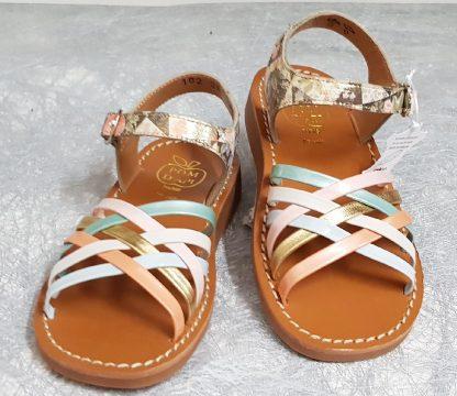 sandale enfant à boucle en cuir platine imprimé vintage avec brides entrelacées cuir vernis pastel, Yapo lLuxmBella signée Pom d'Api pom d'api