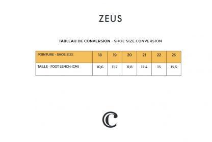 tableau des pointures de la sandale Zeus