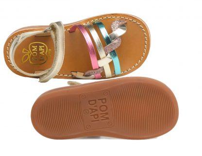 Nu-pied cuir métallisé platine avec brides entrelacées et tressées, modèle Yapo Tressé à velcro
