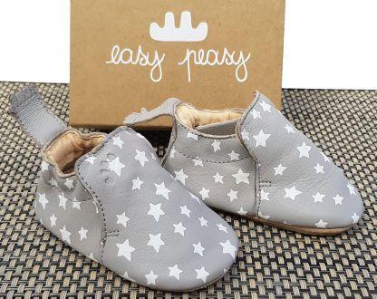chausson prémarche en cuir gris et étoiles blanches avec semelle antidérapante, Blublu Nuit signé Easy Peasy
