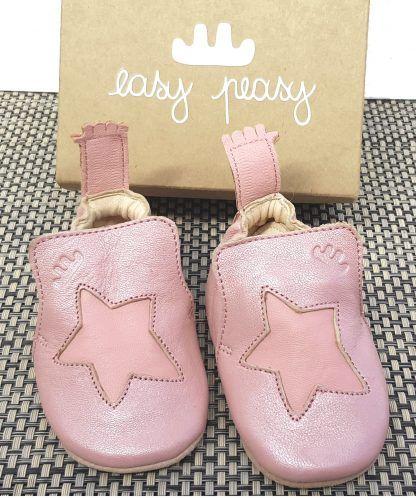 un cuir tannage végétal pour le chausson pré-marche pour bébé fille, Blublu étoile rose et rose baba, modèle Easy Peasy avec semelle antidérapante
