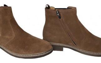 un cuir velours coffee pour la Brother Jodzip avec un élastique sur la tige côté extérieur et un zip latéral, boots mixte de Pom d'Api