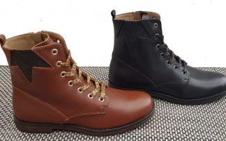 bottines enfant à lacets et 1 zip en cuir marron clair ou noir, Cuma de Stones & Bones