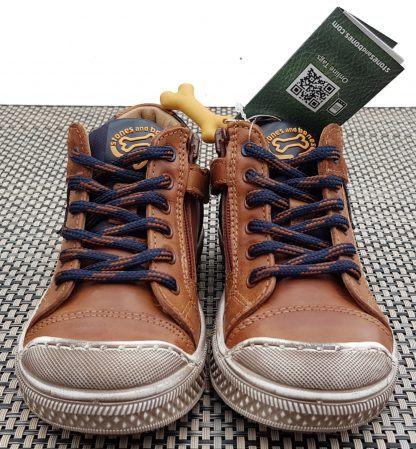 Stones & Bones, chaussure semi montante pour garçon en cuir cognac et marine, miodèle Leno fermé par 1 lacet et 1 zip