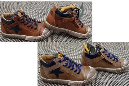 chaussure semi montante pour enfant en cuir cognac et marine ou taupe et cuir marine à lacets et 1 zip, modèle Leno pour garçon de Stones & Bones.