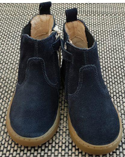 chaussure enfant, style bottine en cuir velours marine agrémentée d'un élastique glitter étain sur le côté et fermé par 1 zip, modèle Play Shine de Shoo Pom