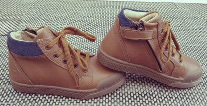 basket garçon, 10is, Ten Win lace en cuir ilisse camel et col matelassé bleu, sneaker haute enfant à lacet et 1 zip