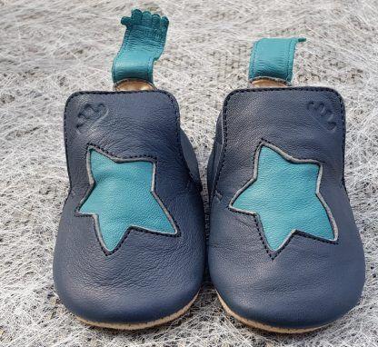 Easy Peasy, Blublu Etoile en cuir marine et étoile bleu avec semelle antidérapante, modèle pré-marche pour garçon