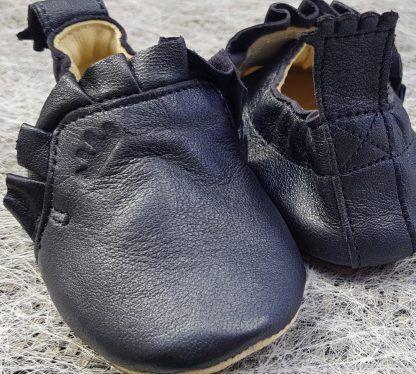 chausson Easy peasy, modèle pré-marche avec semelle antidérapante et en cuir marine nacré, Blublu Froufrou.