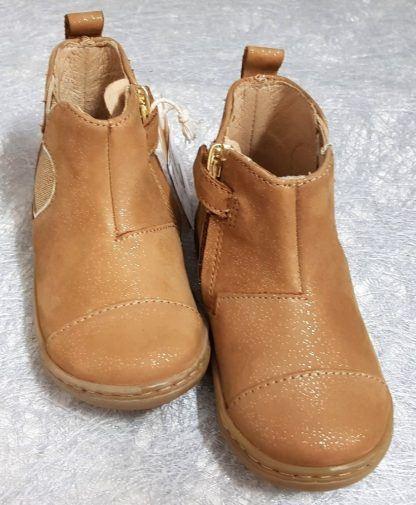 pour les premiers pas une bottine en cuir velours camel irisé et élastique en forme de pomme glitter or, Bouba New Apple à zip