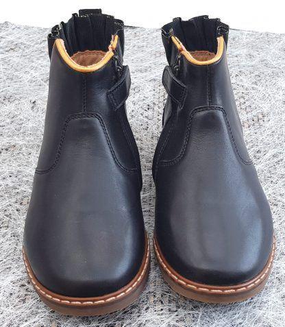 un cuir lisse noir, un élastique d'aisance noir irisé or avec une collerette cuir froncé et joliment gansé cuir or pour la boots City Frizz de Pom d'Api, modèle chaussure enfant fermé par 1 zip.