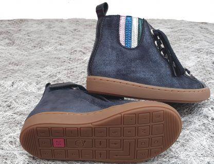Shoo Pom, sneaker montante Play Jodlace en cuir velours et vernis marine pour enfant, à lacets et 1 zip.