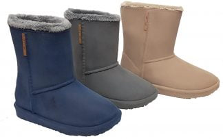 Cosy des bottes de pluie ou neige en PVC et fourrure pour enfant. Couleur beige, grise et bleue