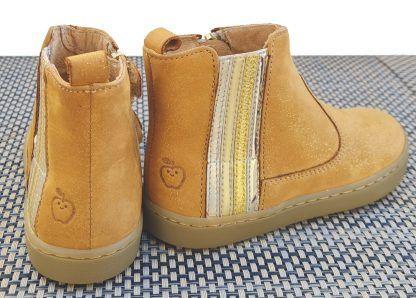 bottine enfant Shoo Pom en cuir velours camel irisé platine et dté d'un élastique en cuir métal argent, or et platine, chaussure Play stripes à zip