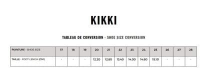 tableau pour les pointures du modèle Kiki
