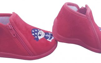 Trois, chausson premiers pas Bellamy en velours rouge et pirate, modèle fermé par 1 zip
