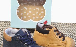 chaussure pré-marche pour bébé garçon à lacets. Zebre en cuir marine ou camel signé Bellamy doté d'une semelle extra souple