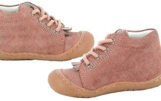 Zika, chaussure pré-marche en cuir velours rose irisé or. Un modèle pour bébé à lacets signé Bellamy