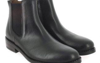 bottine Suzan en cuir noir et dotée d'un élastique d'aisance sur le côté. Une chaussure enfant Bellamy fermée par 1 zip