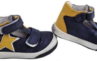 chaussure enfant Jilou de Bellamy en cuir marine et ocre. Modèle demi saison fermé par 2 velcros
