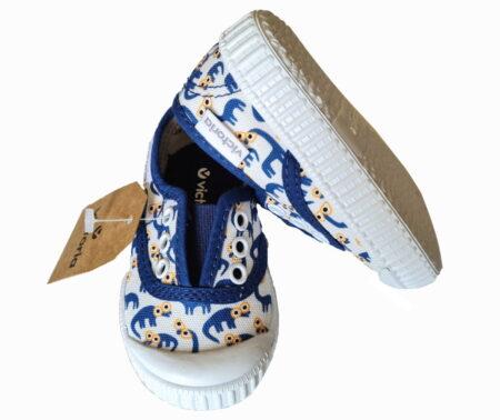 un joli imprimé bleu pour la basket toile avec élastique de Victoria