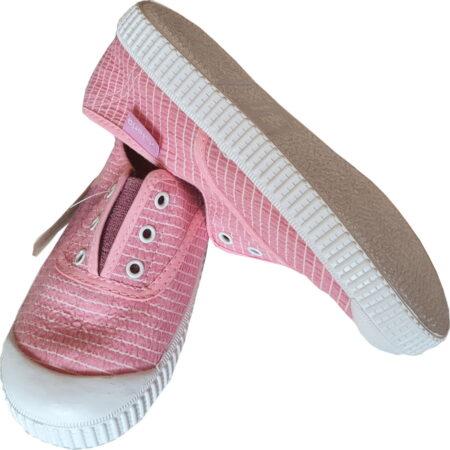 une toile rose et lignes blanches pour la basket Victoria avec élastique sur le pied