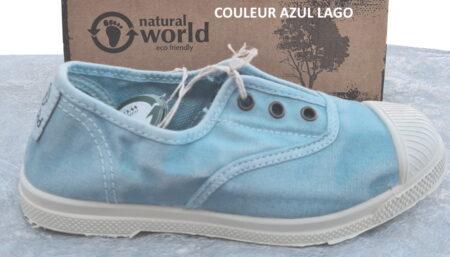 une belle couleur bleue pour la chaussure toile 470E de Natural Word. Un modèle doté d'un élastique sur le pied