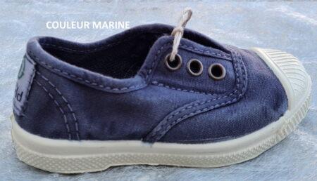 chaussure toile enfant avec élastique, bleu marine dotée d'une semelle amovible