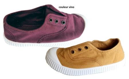 chaussure toile pour enfant coloris oro ou vino. Modèle Inglese de Victoria avec élastique sur le pied