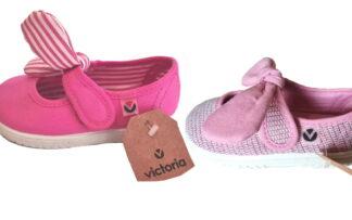 ballerine en toile rose et fils imprimés métallisés ou fuschia avec noeud amovible rose ou blanc rayé fuschia, modèle enfant de Victoria