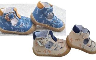 chaussure Flexibel de Bellamy souple et confortable en cuir beige et marine ou jeans et camel joliment décoré de zèbres. Modèle Stan fermé par 1 bride à boucle