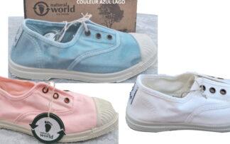 coloris azul, blanc ou rose clair pour la chaussure toile enfant 470 de Natural Word