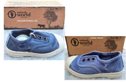 Natural Word, chaussure enfant en coton 470E coloris celeste ou petrole avec élastique sur le pied