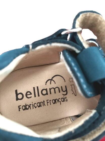 Nu-pied, Joe, chaussure Bellamy fabriqué en France pour les premiers pas en cuir nubuck bleu pétrole et fermé par 2 velcros